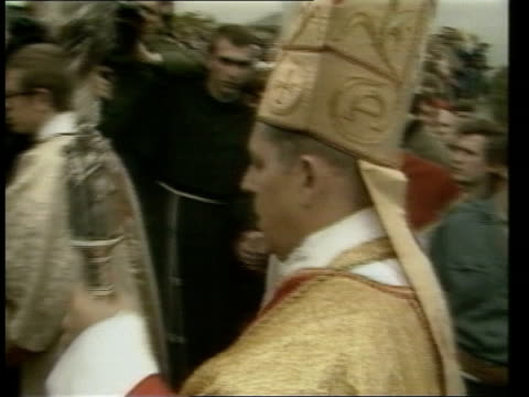 archbishop jozef glemp to become cardinal; poland: warsaw: ext church service church procession in street archbishop jozef glemp in procession close... - religious service stock videos & royalty-free footage