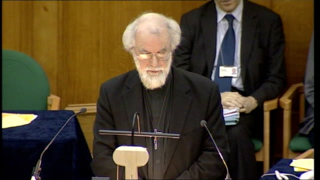 archbishop of canterbury addresses synod on sharia controversy; london: westminster: church house: rowan williams speech sot - defends his right to... - synod stock videos & royalty-free footage