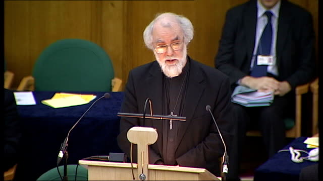 archbishop of canterbury addresses synod on sharia controversy rowan williams speech sot apologises for 'unclarity' in comments on sharia law - カンタベリー大主教点の映像素材/bロール