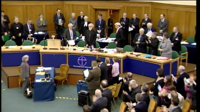 archbishop of canterbury addresses synod on sharia controversy; england: london: westminster: church house: int general view of general synod meeting... - synod stock videos & royalty-free footage