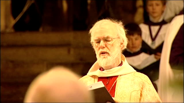 archbishop of canterbury and pope easter messages; england: kent: canterbury: canterbury cathedral: int dr rowan williams leading prayers at the... - canterbury cathedral stock videos & royalty-free footage