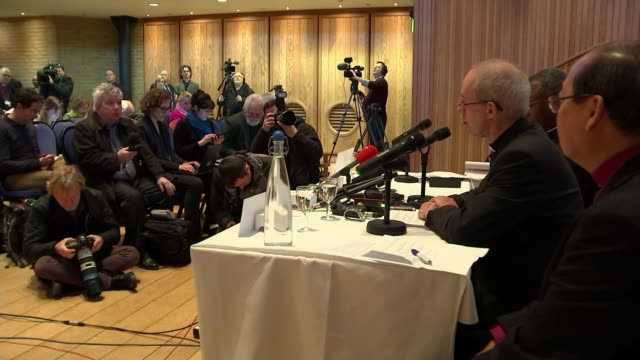 archbishop of canterbury apologises to lgbt community for 'hurt and pain' caused by church; kent: canterbury: welby at press conference man at press... - archbishop of canterbury stock videos & royalty-free footage