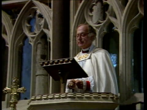 archbishop of canterbury attacks use of nuclear weapons in easter sermon; int church interior and pulpit dr robert runcie sermon sot - nuclear... - robert runcie stock videos & royalty-free footage