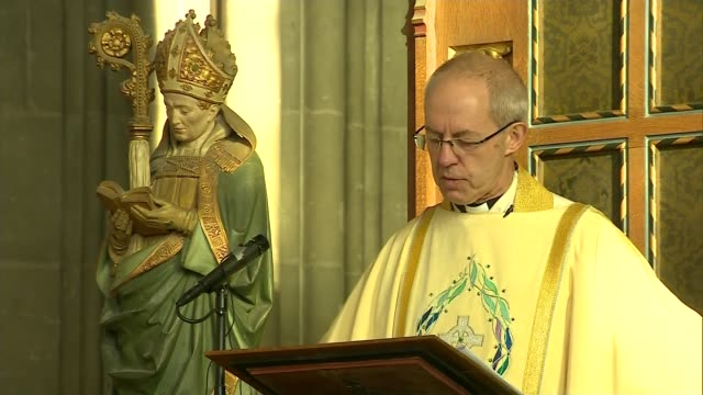 archbishop of canterbury christmas day sermon; england: kent: canterbury: canterbury cathedral: int justin welby speech sot. - canterbury cathedral stock videos & royalty-free footage