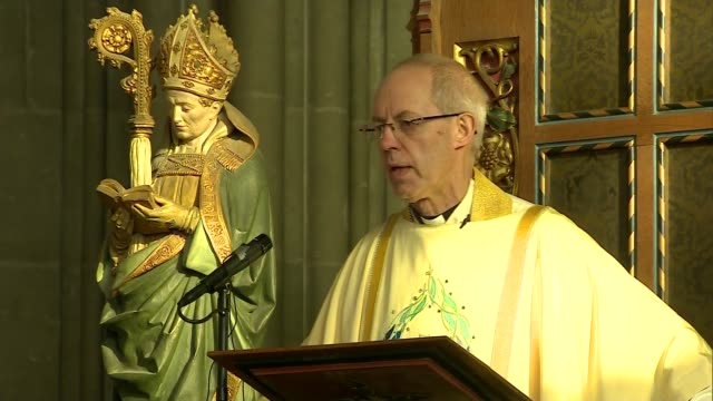 archbishop of canterbury christmas day sermon; england: kent: canterbury: canterbury cathedral: int justin welby sermon sot / - canterbury cathedral stock videos & royalty-free footage