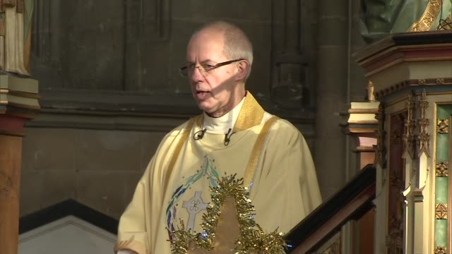 archbishop of canterbury christmas day service and sermon at canterbury cathedral; england: kent: canterbury: canterbury cathedral: int excerpts from... - canterbury cathedral stock videos & royalty-free footage