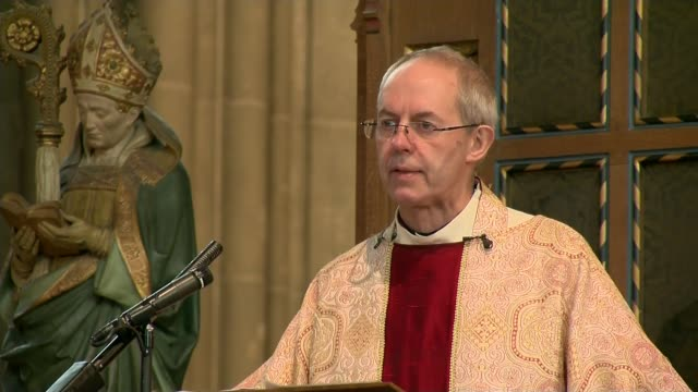 archbishop of canterbury discovers his biological father is not gavin welby; lib / welby delivering christmas day sermon end lib - archbishop of canterbury stock videos & royalty-free footage