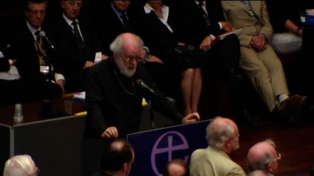 archbishop of canterbury dr rowan williams announces his resignation; 7.7.2008 / t07070803 york: int rowan williams addressing general synod - synod stock videos & royalty-free footage