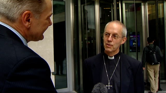 archbishop of canterbury embarrassed by wonga investment england london gir ext reporter and justin welby most rev justin welby interview sot i'm not... - lambeth stock videos & royalty-free footage