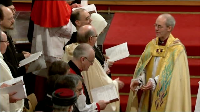 archbishop of canterbury embarrassed by wonga investment; march 2013 england: kent: canterbury: cantebury cathedral: int justin welby shaking hands... - archbishop of canterbury stock videos & royalty-free footage