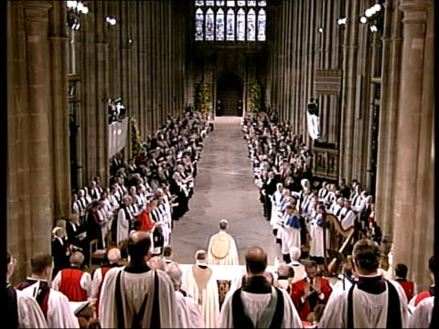 archbishop of canterbury enthroned; uk pool england: kent: canterbury cathedral int tgv enthronement service underway in cathedral - canterbury cathedral stock videos & royalty-free footage