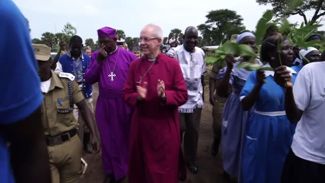 Archbishop of Canterbury Justin Welby and Archbishop of Uganda Stanley Ntagali meeting South Sudanese refugees in Uganda