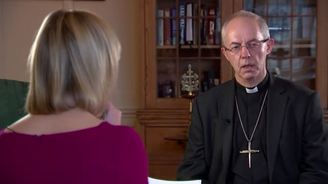 archbishop of canterbury justin welby interview justin welby interview sot abuse scandal in the church / baptism of prince harry's fiancée meghan... - archbishop of canterbury stock videos and b-roll footage