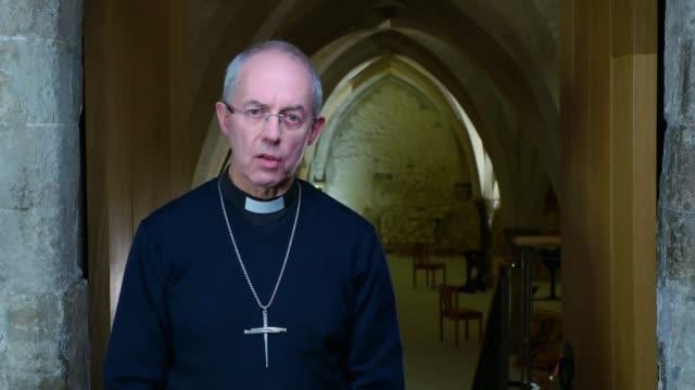 archbishop of canterbury new year message england int justin welby address / cutaways of welby address - ジャスティン・ウェルビー点の映像素材/bロール