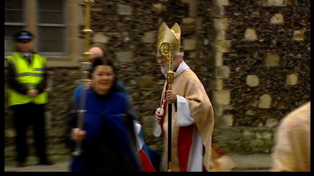 archbishop of canterbury on sharia law; lib kent: canterbury: ext dr rowan williams along with clerical procession to cathedral - law stock videos & royalty-free footage