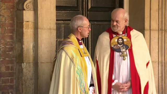 archbishop of canterbury says worrying about migration is not racism lib / london st james's palace welby with the bishop of london richard chartres - bishop of london stock videos & royalty-free footage