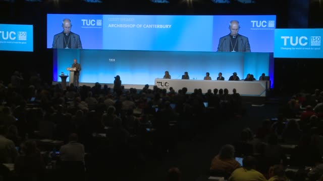 archbishop of canterbury speech at tuc conference england manchester int archbishop of canterbury justin welby speech at the tuc congress sot part 5... - カンタベリー大主教点の映像素材/bロール