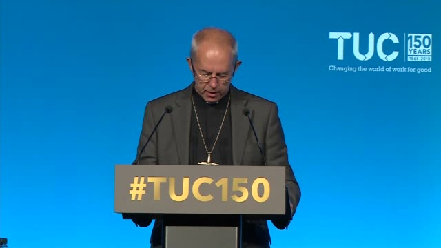 archbishop of canterbury speech at tuc conference england manchester int archbishop of canterbury justin welby speech at the tuc congress sot part 3... - archbishop of canterbury stock videos & royalty-free footage