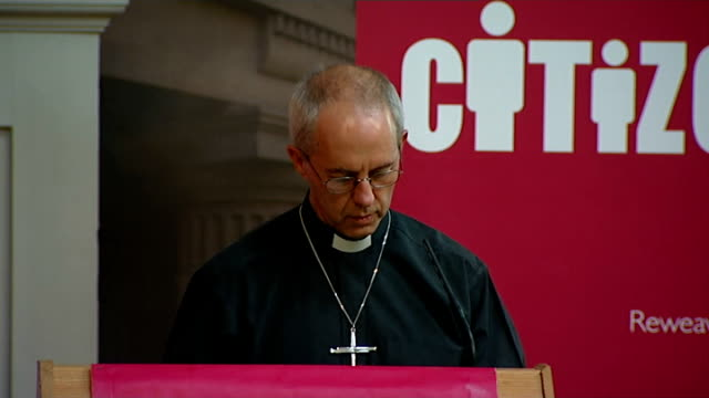archbishop of canterbury speech; england: london: int justin welby speech sot - comments on society and the place of the church - need to cast of our... - archbishop of canterbury stock videos & royalty-free footage
