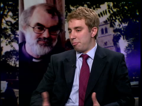 archbishop of canterbury succession itn jonathan wynnejones interviewed sot evangelical wing of the church very concerned he's going to turn a bling... - evangelicalism stock videos & royalty-free footage
