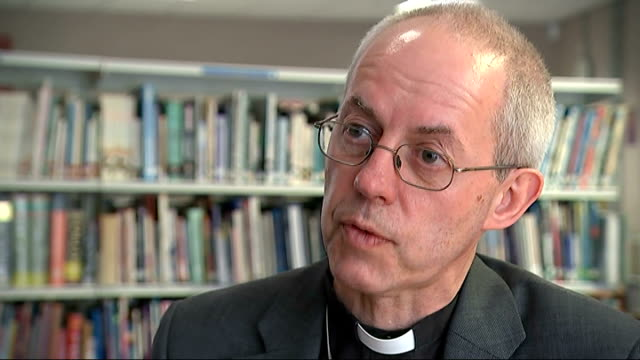 archbishop of canterbury visits school to highlight issue of homophobic bullying; welby interview continues sot - archbishop of canterbury stock videos & royalty-free footage