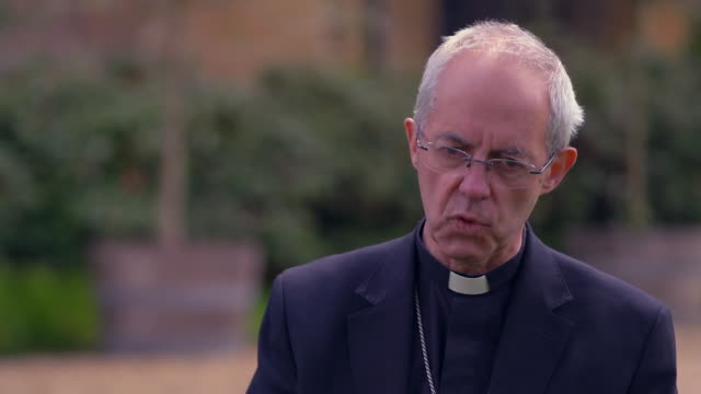 """archbishop of caterbury justin welby saying after coronavirus we cannot buld a society on the idolatry of wealth and that we build a vision of the... - """"bbc news"""" stock videos & royalty-free footage"""