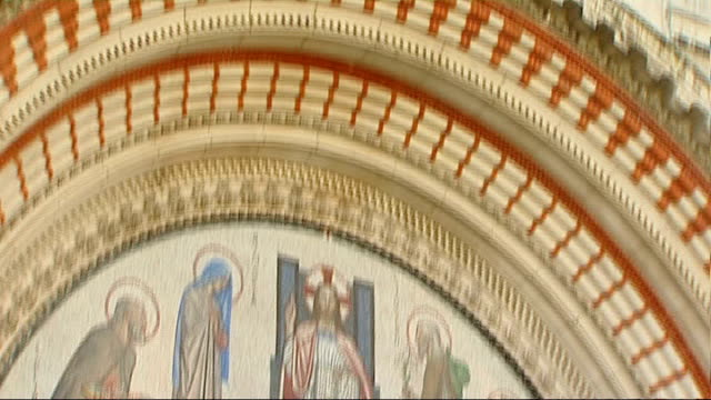 Archbishop of Westminster becomes a cardinal ENGLAND London Westminster Cathedral Message above entrance TILT DOWN to fresco Father Christopher...