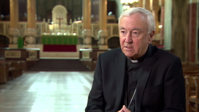 """archbishop of westminster vincent nichols saying places of worship re-opening """"is an important practical step and a symbolic step for our society"""" - modern art stock videos & royalty-free footage"""