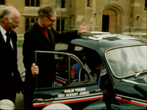 archbishop's morris minor; england: london: lambeth palace: ext archbishop of canterbury, dr robert runcie, and lord montagu of beaulieu beside... - robert runcie stock videos & royalty-free footage