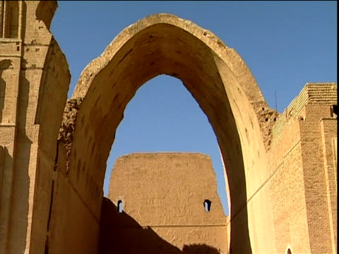 arched gateways and ruined buildings of mesopotamian city of ctesiphon iraq - mesopotamia stock videos and b-roll footage