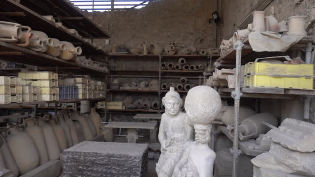 archeological artifacts in the ancient ruins sightseeing historic landmark of pompeii, italy, europe. - goodsportvideo stock videos and b-roll footage