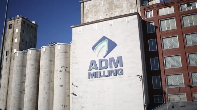 Archer Daniels Midland signage is pictured at a grain elevator in St Louis Missouri US on Wednesday Oct 25 2017 Photographer Luke Sharrett Shots wide...