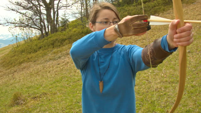 archer in the mountains - longbow stock videos and b-roll footage