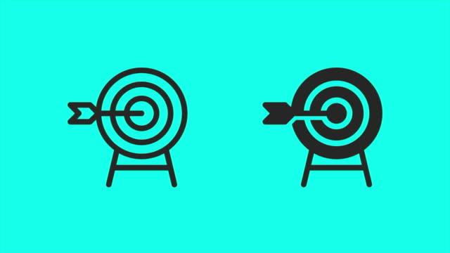 archery icons - vector animate - arrow bow and arrow stock videos & royalty-free footage