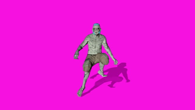 Archibald - Dancing zombie character animation in solid color background - Loop and shadowed