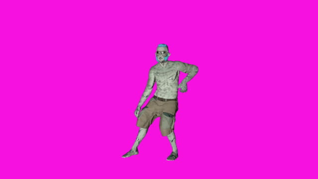 archibald - dancing zombie character animation in solid color background - zombie stock videos & royalty-free footage