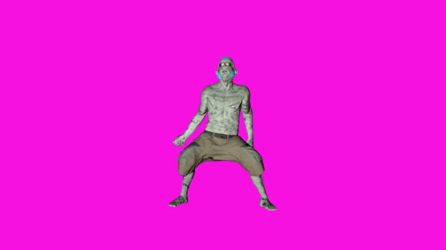 Archibald - Dancing zombie character animation in solid color background