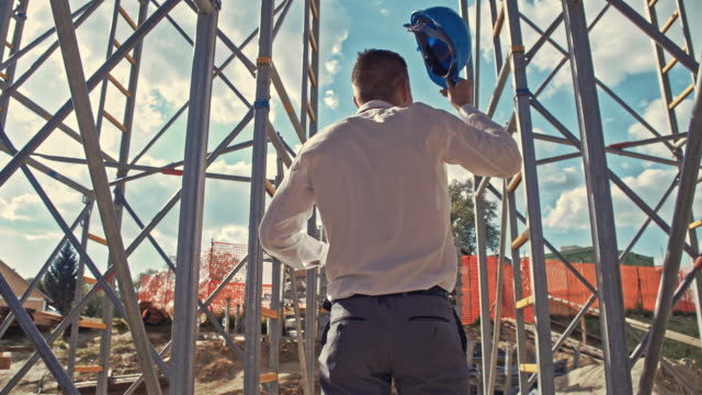 architect checking the construction site - scaffolding stock videos & royalty-free footage