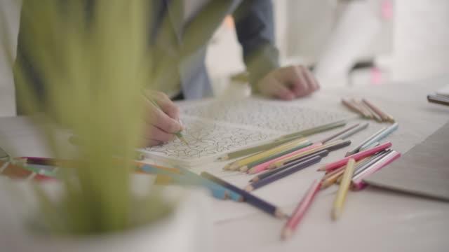 arkitekten målarbok i hans kontor. - 30 34 ��r bildbanksvideor och videomaterial från bakom kulisserna