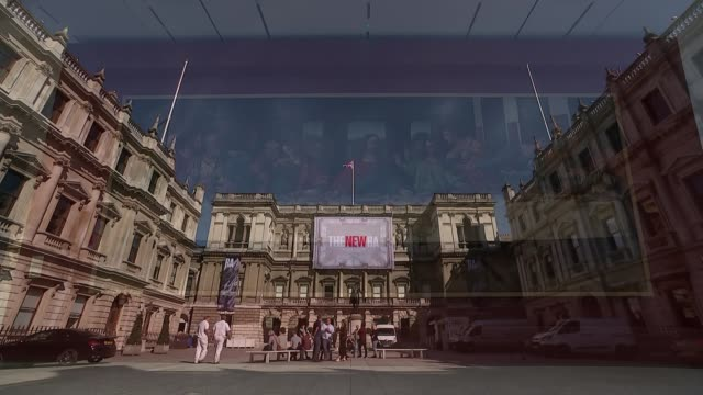 vídeos de stock, filmes e b-roll de architect david chipperfield interview on royal academy expansion ext general view courtyard of the royal academy of arts with 'the new ra' banner... - royal academy of arts