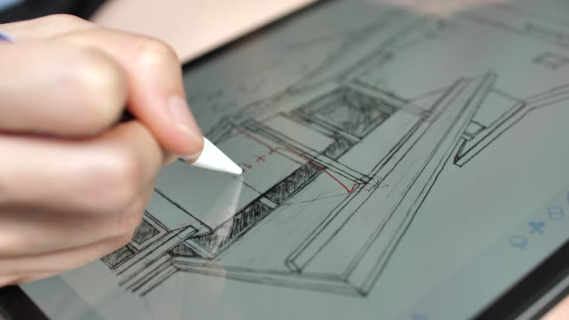 architect drawing on digital tablet - pencil drawing stock videos & royalty-free footage