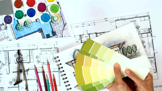 architect & interior designer working at worktable with drawing, blue print, sample - color swatch stock videos & royalty-free footage