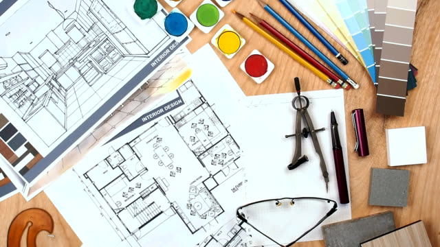 architect - interior designer worktable with floor plan, blue print, sample - cambiare forma video stock e b–roll