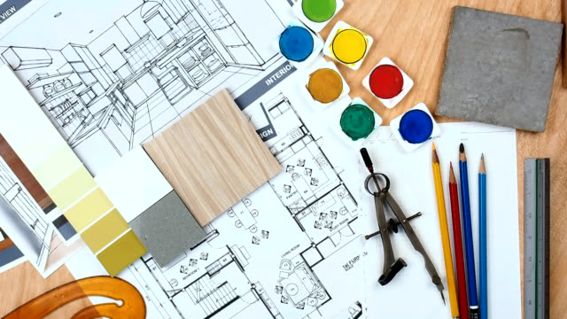 architect - interior designer worktable with floor plan, blue print, sample - color swatch stock videos & royalty-free footage