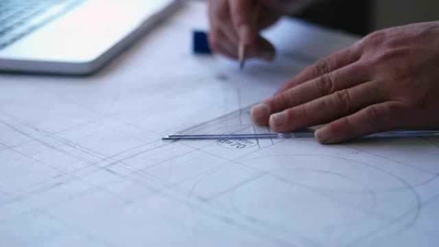 architect making floor plans using computer and graph tools - drawing compass stock videos & royalty-free footage