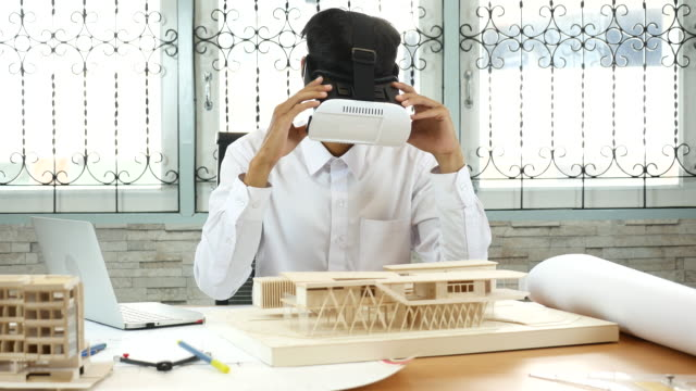 architect using virtual reality in his work - architectural model stock videos & royalty-free footage