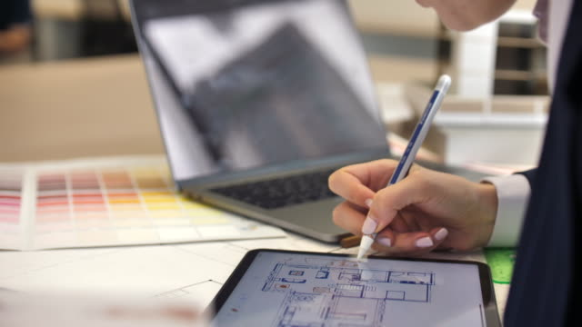 architect working on house blueprint plan with tablet pc - digitized pen stock videos & royalty-free footage