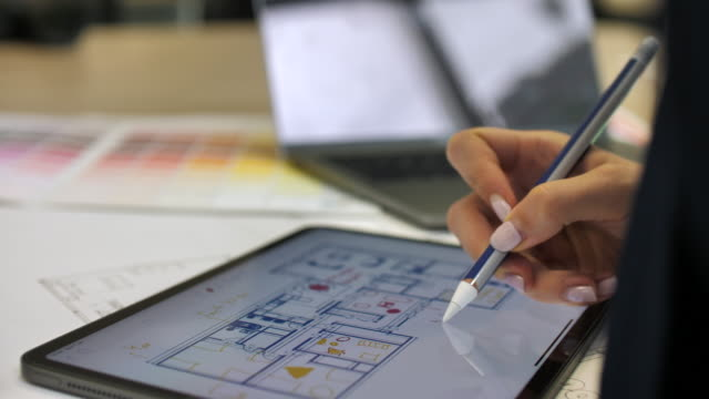 architect working on tablet pc in office - note pad stock videos & royalty-free footage
