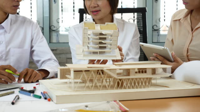 Architects brainstorm with Artificial model, Meeting