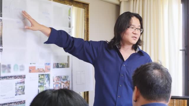 vídeos de stock e filmes b-roll de architects brainstorming about project - envolvimento dos funcionários